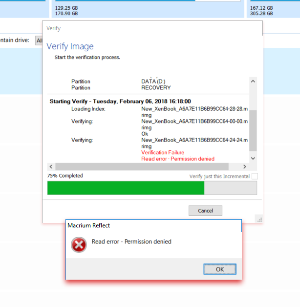 Backup aborted! - Unable to read from disk - Error Code 23 - Data