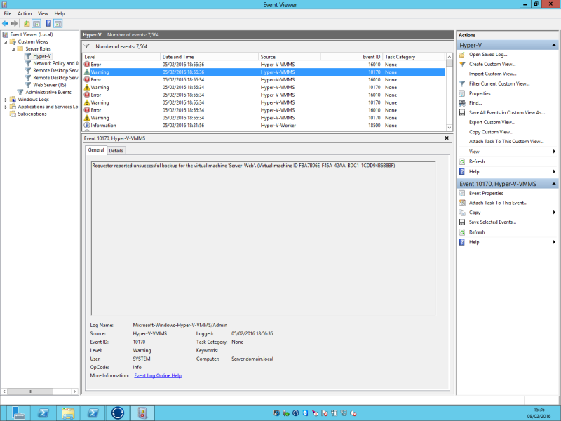 16010 and 10710 events when backing up VHDs under 2012 host